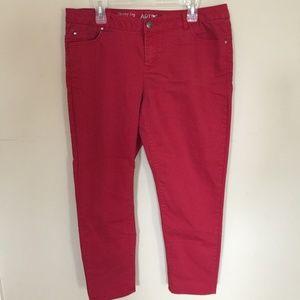 Apt. 9 Red Skinny Jeans Size 16